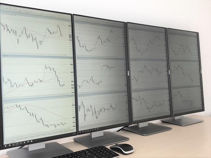 各通貨ペアの4時間足から15分足までを表示させたトレード用パソコンモニター
